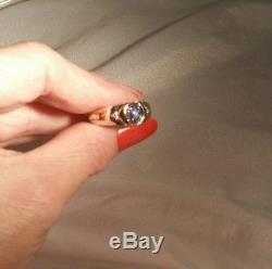 10K Yellow Gold Men's Magic Glo Blue Linde Lindy Star Diamond Ring FREE SIZING