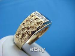 10k Gold Magic Glo Men`s Nugget Design Ring With Blue Stone & Diamonds 6.2 Gr