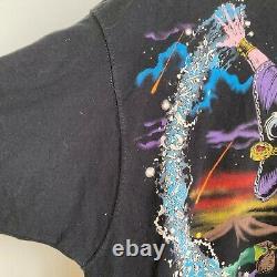 1994 Liquid Blue Vintage Wizard Jumbo Fantasy Print T-shirt Size XL Black