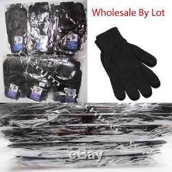 530 Dozens WHOLESALE LOT MAN MAGIC SOLID BLACK WARM KNITTED WINTER GLOVES XMAS