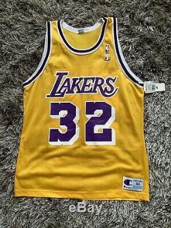 90s VINTAGE NEW WITH TAGS MAGIC JOHNSON LA LAKERS CHAMPION NBA JERSEY/SZ L 44