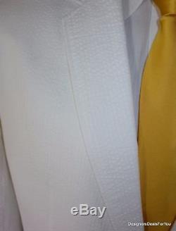 ALBA Bespoke Blazer Mens 46 XL White Seersucker Cotton 2Btn Magic Johnson