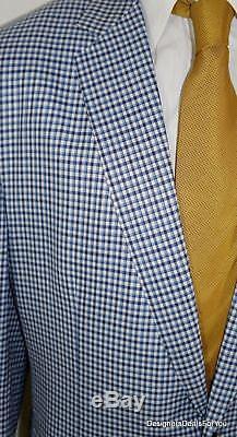 ALBA Bespoke Blazer Mens 48 XL Blue White Check Magic Johnson Sport Coat