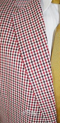 ALBA Bespoke Blazer Mens 48 XL Red Plaid 2Btn Magic Johnson Hand Tailored