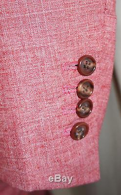 ALBA Bespoke Suit Men 46 XL Red Linen Magic Johnson Hand Tailored 42W 7/23/15
