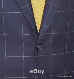 ALBA Bespoke Suit Mens 48 XL Navy Check 2Btn Magic Johnson Hand Tailored 42W