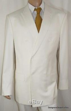ALBA Bespoke Suit Mens 48 XL White Magic Johnson Hand Tailored Double Breasted