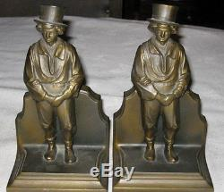 Antique Copperfield Magic Stage Theater Bookends Top Hat Magician Man Theatre