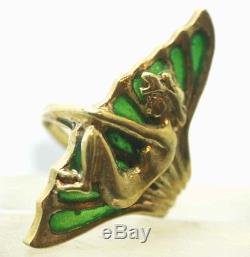 Art Nouveau Vintage Magic Man 14k Gold 0.32 ct diamond Plique a Jour enamel Gorg