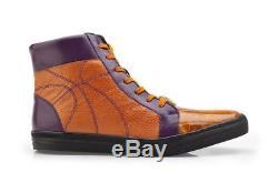 Belvedere Men's Magic II Genuine Crocodile Sneakers 33700 Orange Purple