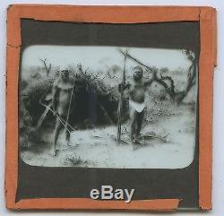 C1900 Plate Glass Magic Lantern Slide Semi-tribal Aboriginal Men With Spears G25