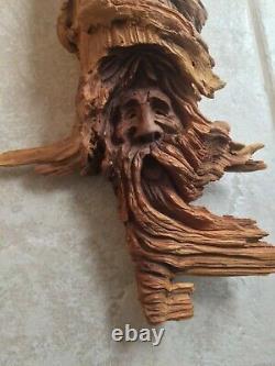 Drift Wood Hand Carved Wizard old man Hobbit Spirit Sculpture Whittle