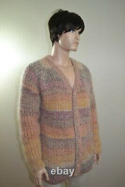 Hand knitted mohair and wool cardigan jacket -XL