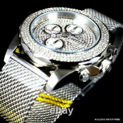Invicta Sea Wizard Crystal Accented Mesh Steel Bracelet 44mm Chrono Watch New