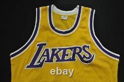 Los Angeles Lakers Sand Knit Jersey Yellow Sewn Blank Magic Kobe Shaq 40