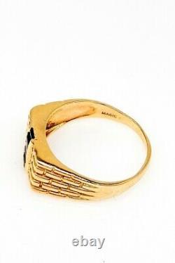 MAGIC Signed $1500 1.25ct Blue Sapphire Diamond 10k Yellow Gold Mens Ring