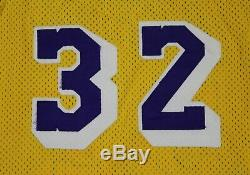 Magic Johnson Los Angeles Lakers Vintage 80's Sand Knit Stitched NBA Jersey 42
