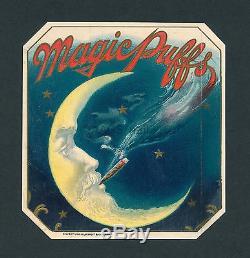 Magic Puffs Man in Moon Smoking on Original Antique Cigar Box Label Vintage Art