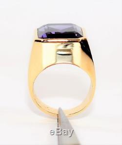 Magical Color Changing 25ct Alexandrite 14kt Yellow Gold Mens Solitaire Ring