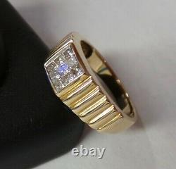 Men's 14k Yellow Gold Princess Magic Set Diamond Ring 5.1g Size 9 0.50ct