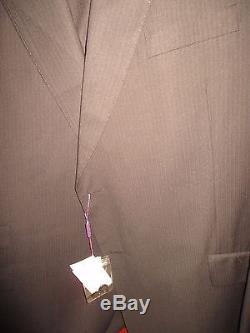 Men's Ervin Magic Johnson 2 Piece Suit Black Pinstripe 56L (50L Pants) NWT
