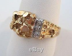 Mens Nugget Ring 10K Yellow Gold Diamond Signed Magic Glo SPJ Vintage Sz 11