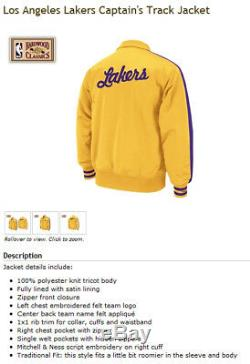 Mitchell & Ness La Lakers Kobe Magic Kareem Nba Captains Zip Up Track Jacket Nwt