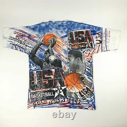 NWT VTG NBA USA Basketball Michael Jordan Magic Johnson T's All Over Print Adult