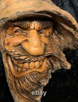 Nancy Tuttle Original Wood Carving Western Wizard Wily in his Wizardry OOAK