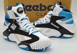 New Reebok Shaq Attaq 1 Pump OG White/Black/Azure Blue Orlando Magic Rare Retro