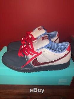 Nike Sb Dunk Low Wizard Of Oz Size 9 Travis Scott Custom Ruby Red Swoosh