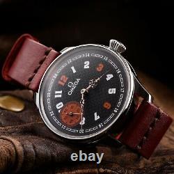 Omega Swiss Watch Mechanical Black Face Steel Retro Watch For Men Vintage Classi