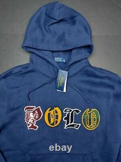 Polo Ralph Lauren Embroidered Logo Magic Fleece Lined Navy Hoodie Size Large
