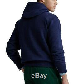 Polo Ralph Lauren Men's Navy Embroidered Logo Magic Fleece Lined Pullover Hoodie