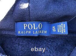 Polo Ralph Lauren Men's XL Navy Embroidered Logo Magic Patchwork Hoodie RARE