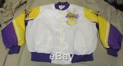 RARE VTG Chalk Line Magic Johnson Los Angeles Lakers White Satin Jacket Men's XL
