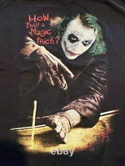 RARE Vintage Dark Knight Joker T-shirt XL Magic Trick Movie Promo Heath Ledger