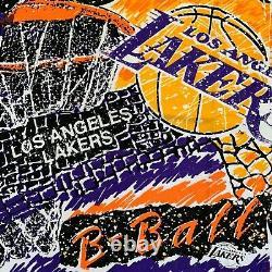 VINTAGE LOS ANGELES LAKERS ALL OVER PRINT T-SHIRT L Tee Magic Johnson Kobe Shaq