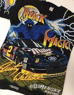 VINTAGE Rare NASCAR #2 Rusty Wallace Black Magic All Over Print T Shirt Medium