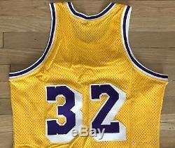 VNTG 80s Medalist Sand Knit NBA Magic Johnson #32 LA Lakers Jersey Sz 42 SEWN