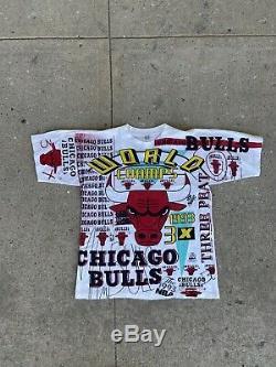 VTG 1993 Chicago Bulls T Shirt Magic Johnson T's Rap Tee All Over Print Large