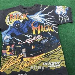 VTG 90S Rusty Wallace Black Magic Nascar All Over Print T Shirt Race Tee Mens M