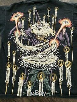 VTG 90s 1994 Liquid Blue Wizard All Over Print Double Side T Shirt Single Stitch