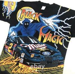 VTG Black Magic Rusty Wallace T-Shirt 90s Sz Large RARE AOP Nascar Ford Miller