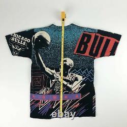 VTG NBA Chicago Bulls Michael Jordan All Over Print Magic Johnson T's Tee Adult