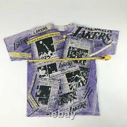 VTG NBA Los Angeles Lakers All Over Print Kareem Abdul-Jabbar Magic Johnson T's