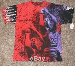 VTG NEW Michael Jordan Chicago Bulls Magic Johnson T's Rare Gel Print