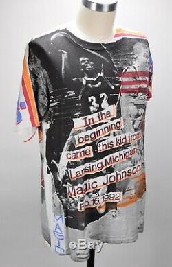 Vintage 1990's Magic Johnson T's Magic All Over Print T Shirt Mens M Rare