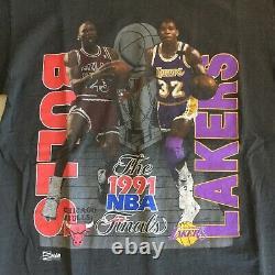 Vintage 1991 NBA Finals Jordan Magic Lakers Bulls Tshirt Double Sided Large