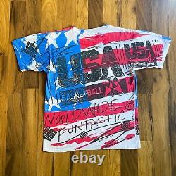 Vintage 1992 USA Basketball Dream Team Magic Johnson T's All-over Print T-shirt